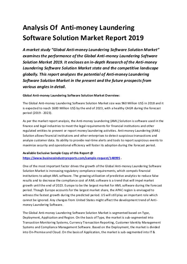 Global Anti-money Laundering Solution Market Repor