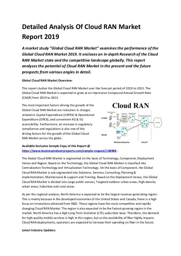 Global Cloud RAN Market Report 2019-converted