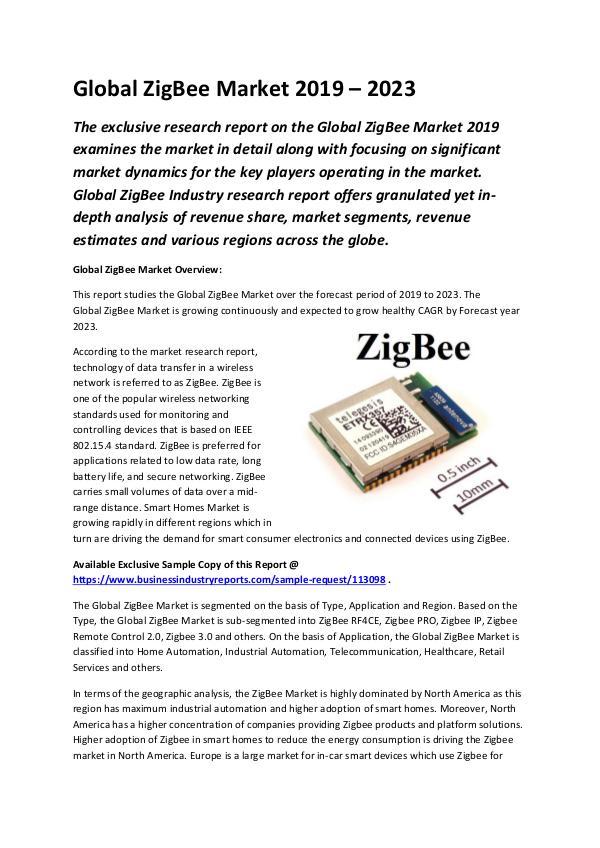 Global ZigBee Market 2019 - 2023-converted