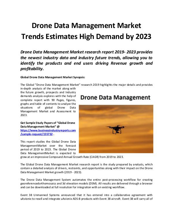 Global Drone Data Management Market to Witness Rob