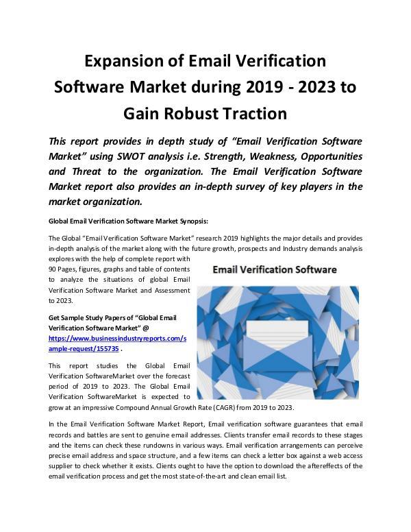 Global Email Verification Software Market 2019