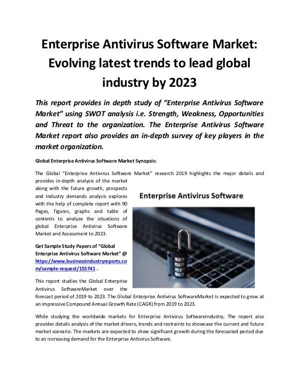 Global Enterprise Antivirus Software Market 2019