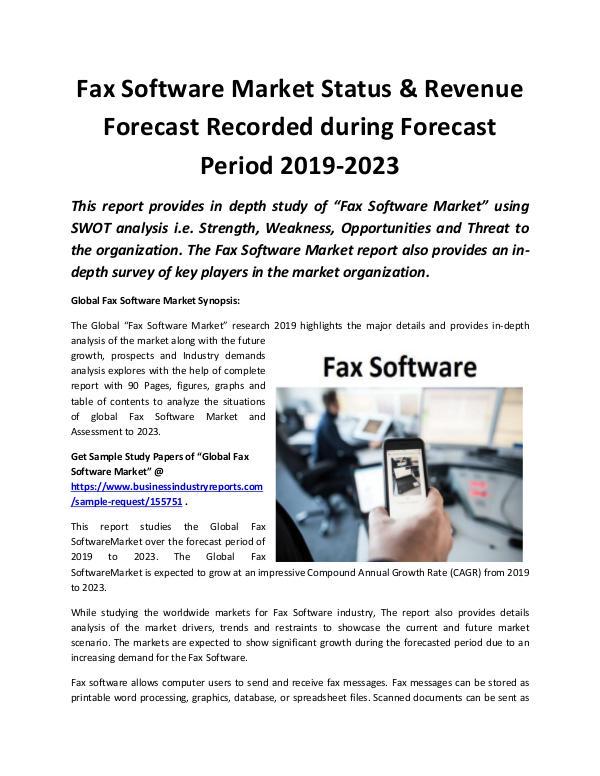 Global Fax Software Market Revenue Growth Predicte