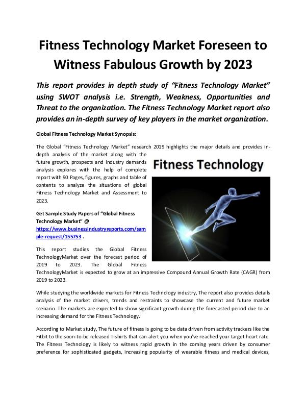 Global Fitness Technology Market Growth by 2023