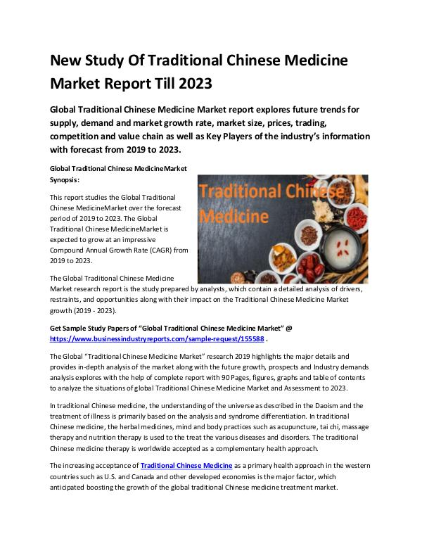 Market Research Reports Global Traditional Chinese Medicine Market Report
