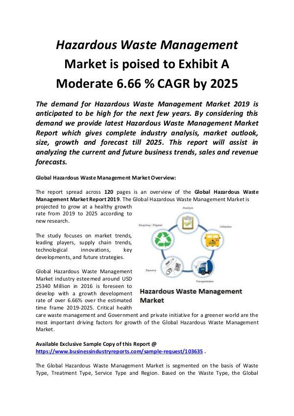 Global Hazardous Waste Management Market 2019