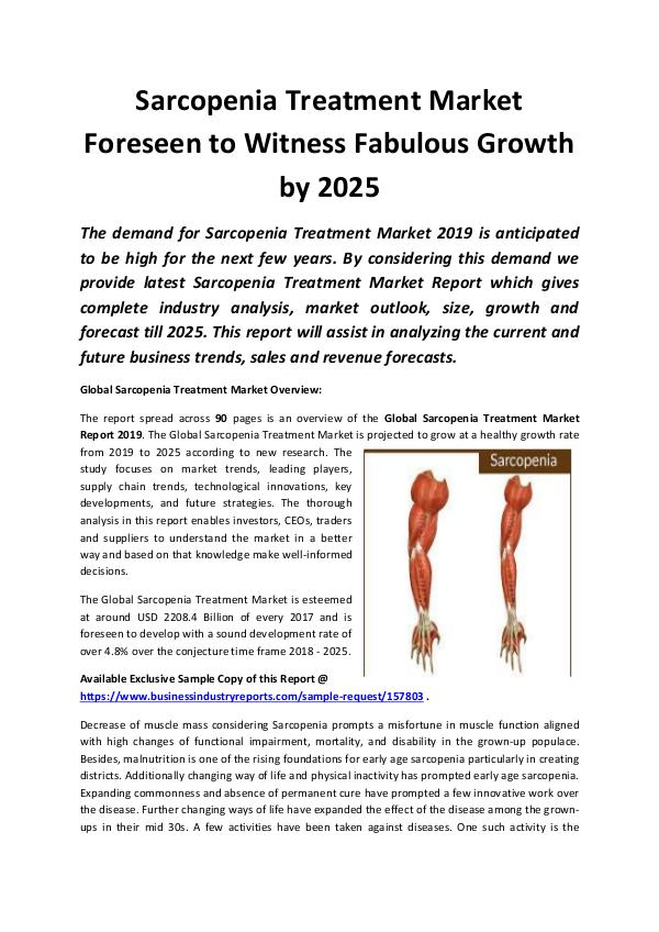 Global Sarcopenia Treatment Market Report 2019-202
