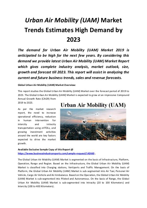 Global Urban Air Mobility (UAM) Market 2019