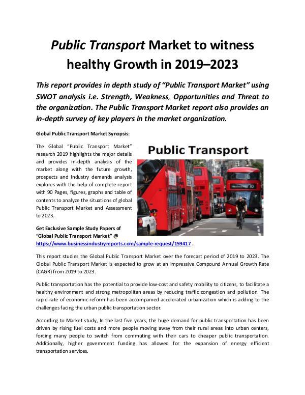 Global Public Transport Market 2019