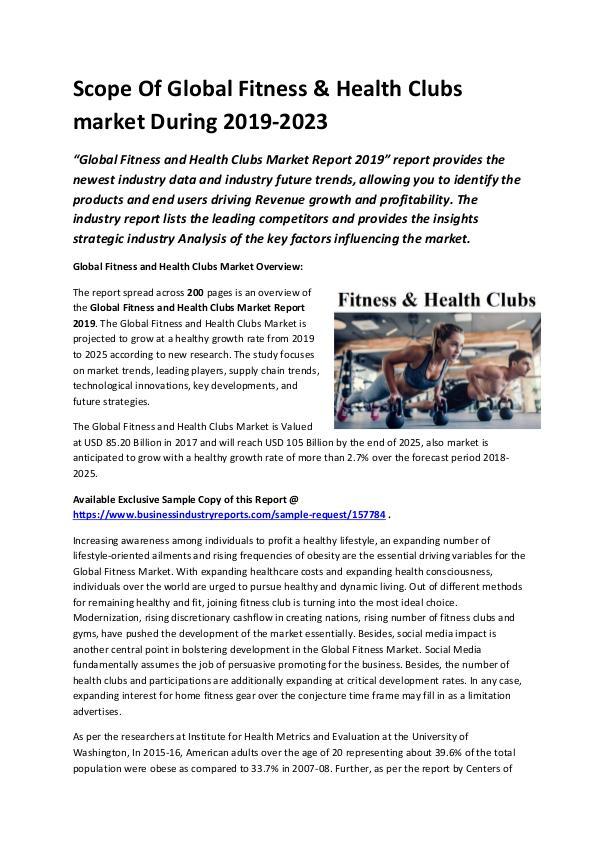 Global Fitness & Health Clubs Market Size study, b