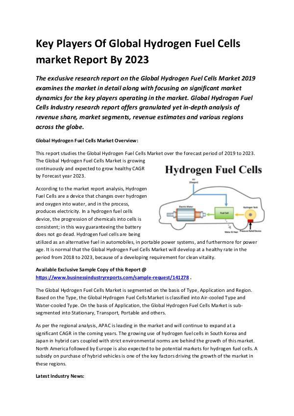Global Hydrogen Fuel Cells Market Report 2019-conv