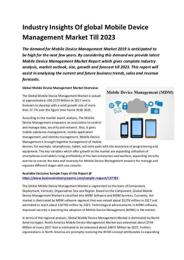 Global Mobile Device Management Market Size study,