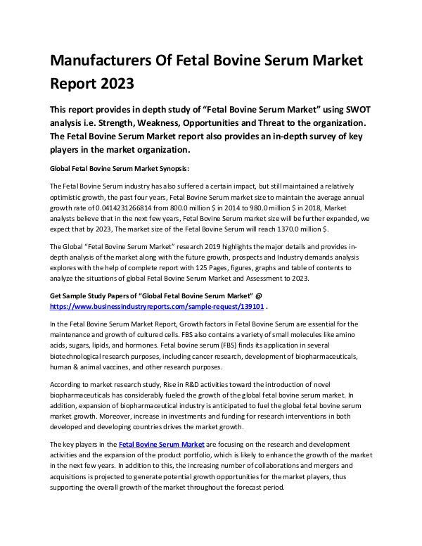 Global Fetal Bovine Serum Market Report 2019-conve