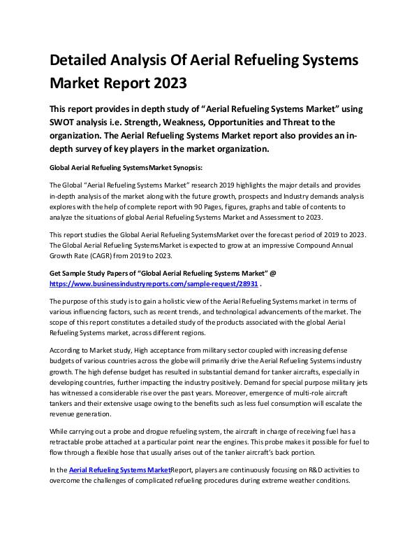 Global Aerial Refueling Systems Market Research Re