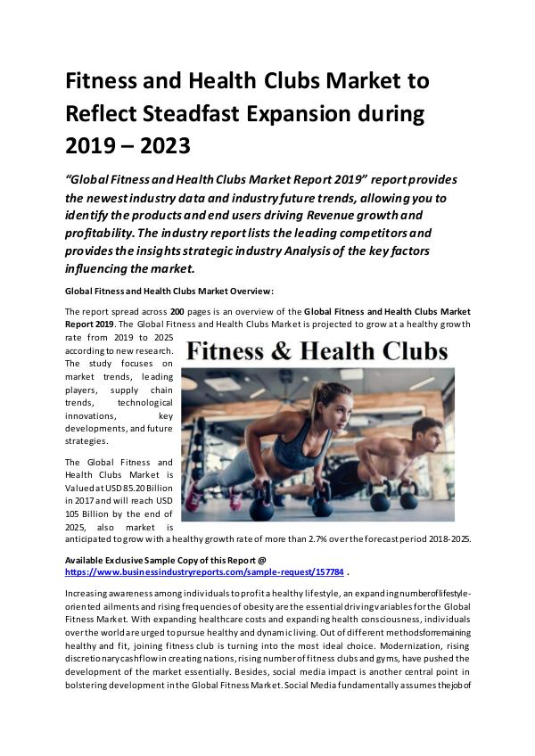Global Fitness & Health Clubs Market Size study by