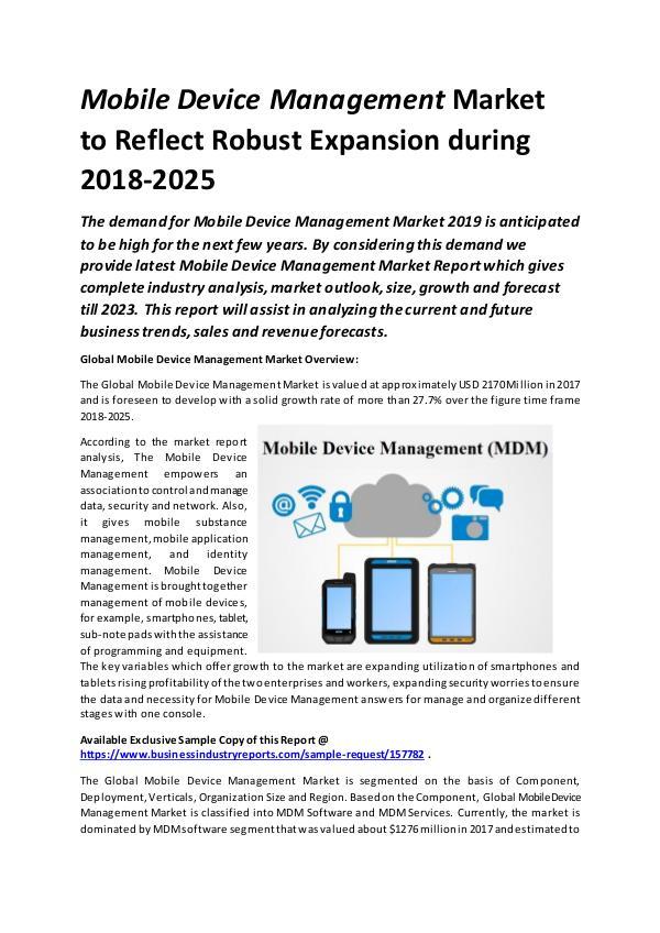 Global Mobile Device Management Market Size study