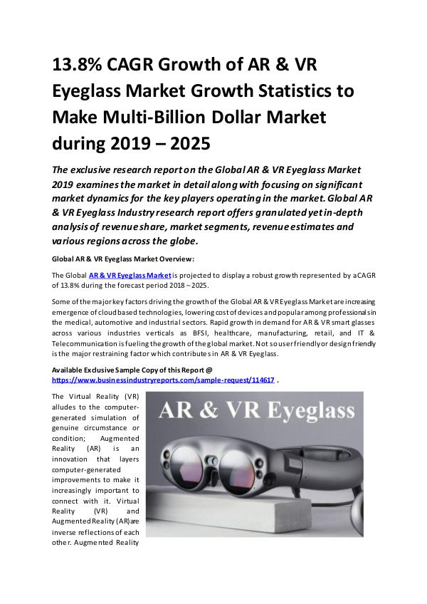 AR & VR Eyeglass Market Size study, by 2025