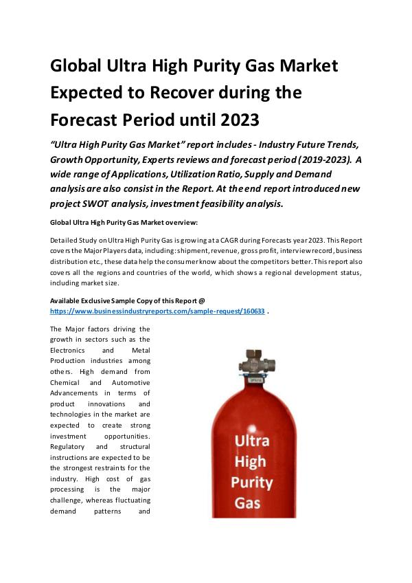 Global Ultra High Purity Gas Market Report 2019