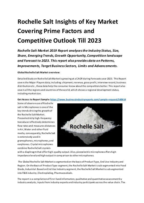 Global Rochelle Salt Market Report 2019