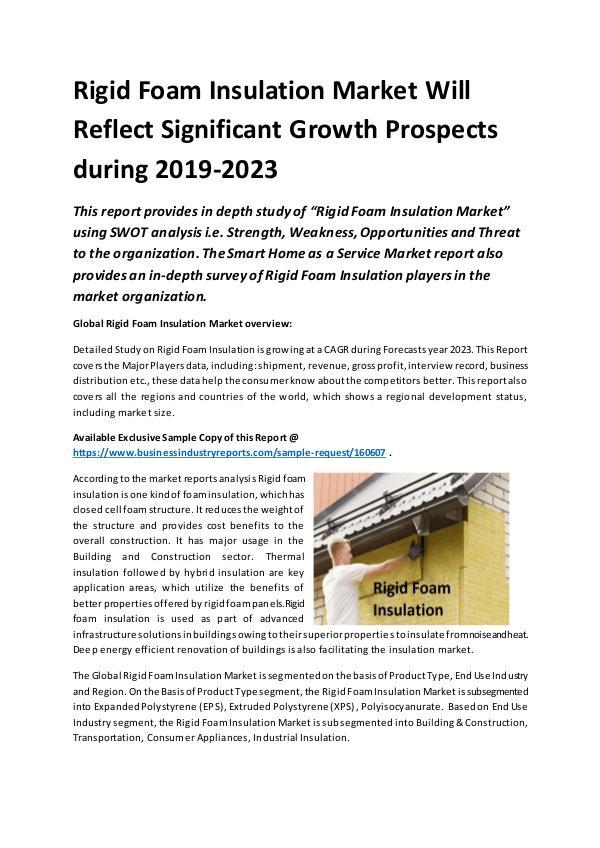 Global Rigid Foam Insulation Market Report 2019