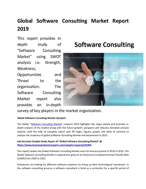 Global Software Consulting Market Report 2019