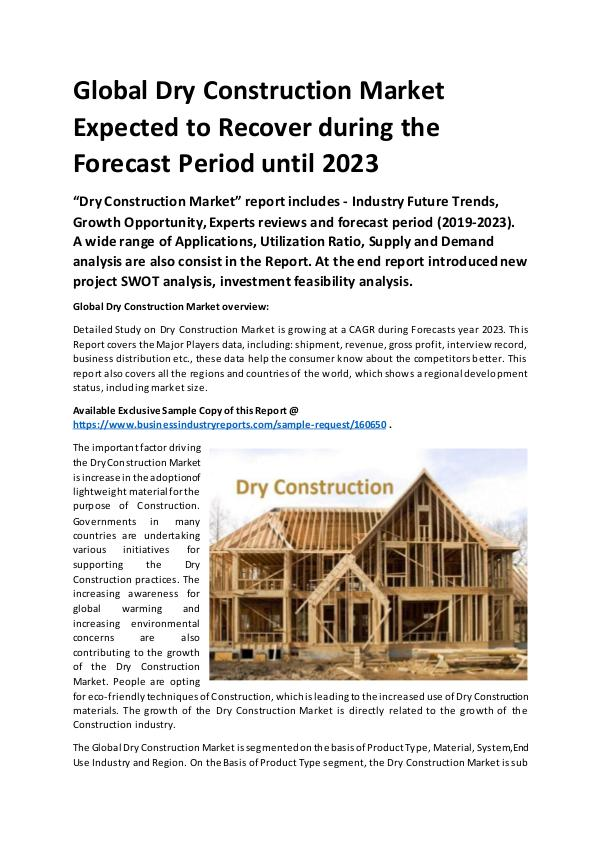 Global Dry Construction Market Report 2019