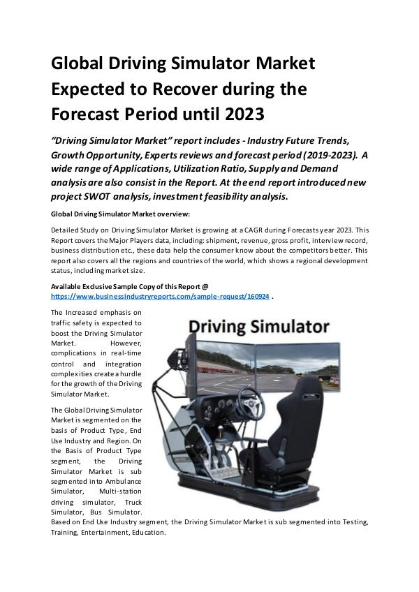 Market Research Reports Global Automotive Driving Simulator Market Report