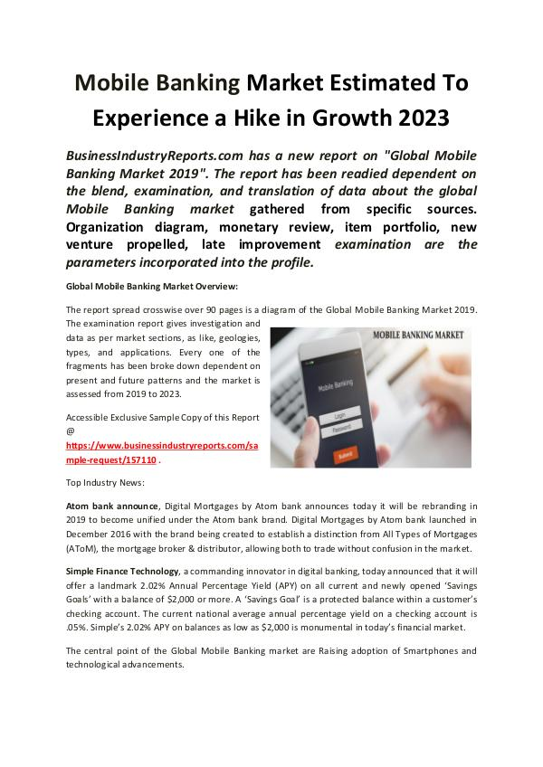 Market Research Reports Global Mobile Banking Market 2023