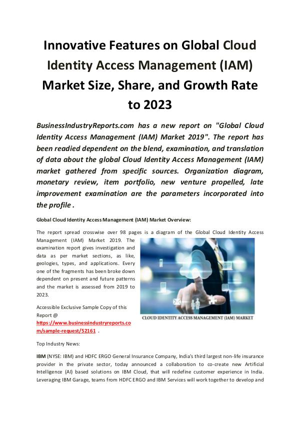 Market Research Reports Global Cloud Identity Access Management Market 201