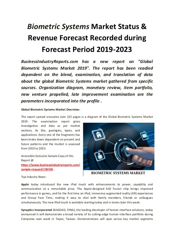Market Research Reports Global Biometric Systems Market 2019