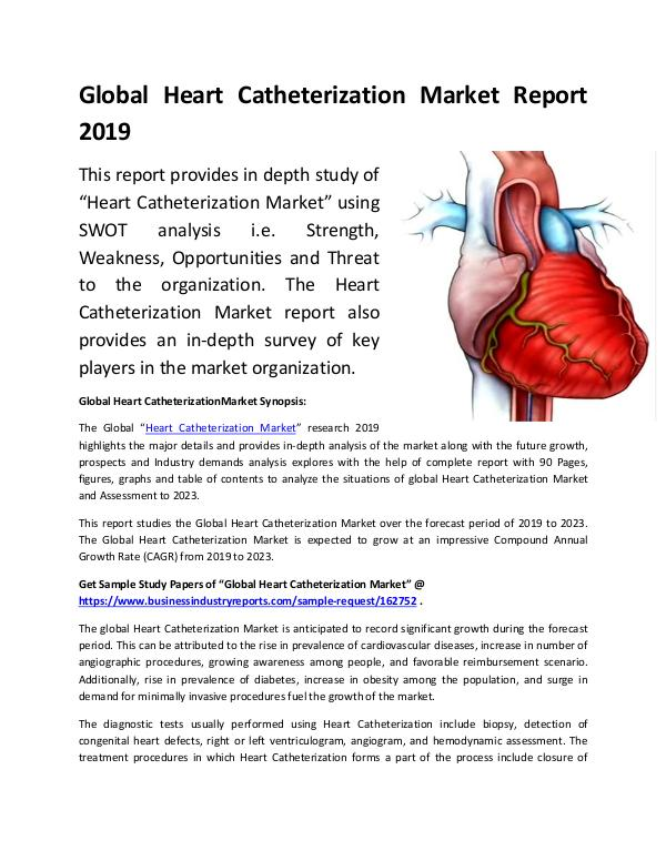 Market Research Reports Global Heart Catheterization Market Report 2019