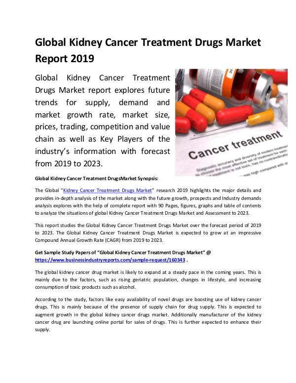 Market Research Reports Global Kidney Cancer Treatment Drugs Market Report