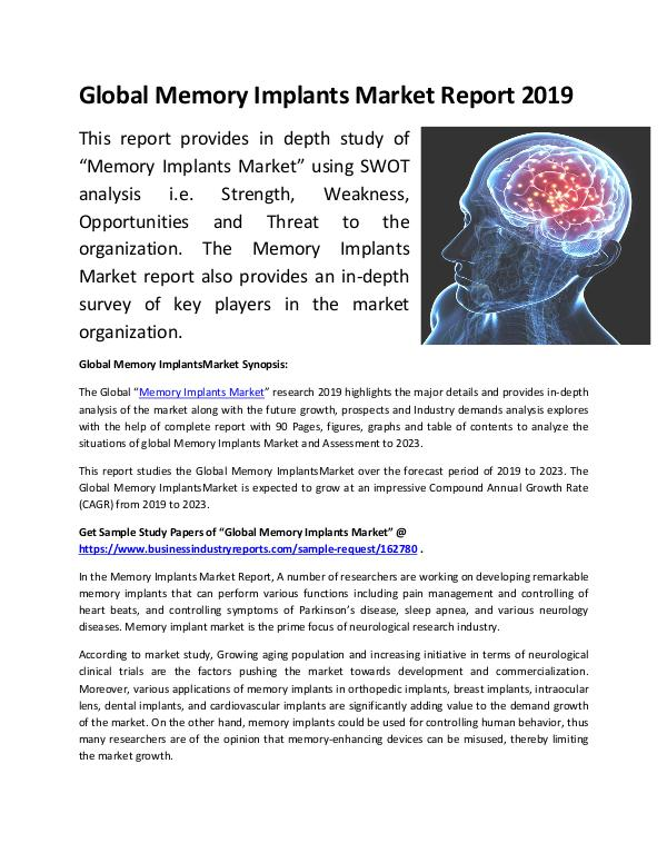 Market Research Reports Global Memory Implants Market Report 2019