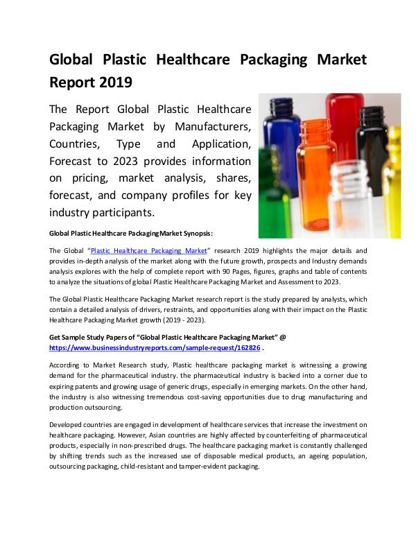 Market Research Reports Global Plastic Healthcare Packaging Market Report