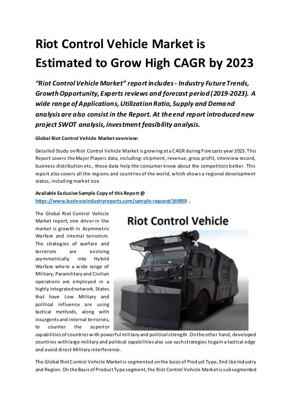 Market Research Reports Global Riot Control Vehicle Market Report 2019