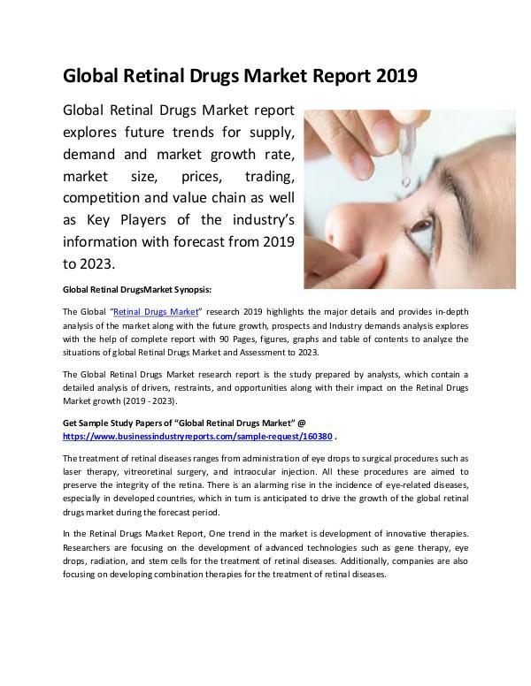 Global Retinal Drugs Market Report 2019