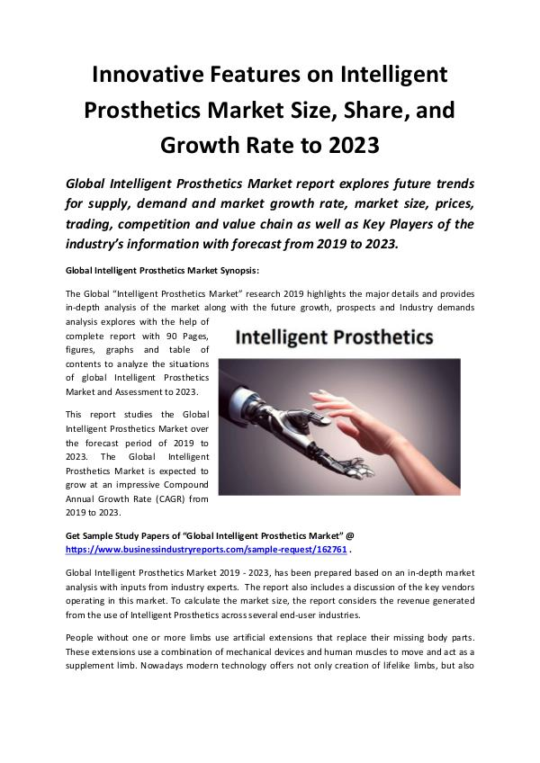 Market Research Reports Global Intelligent Prosthetics Market 2019