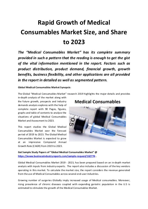 Market Research Reports Global Medical Consumables Market 2019