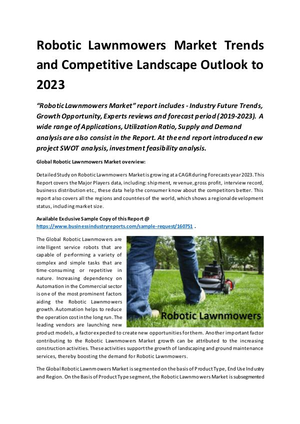 Market Research Reports Global Robotic Lawnmowers Market Report 2019