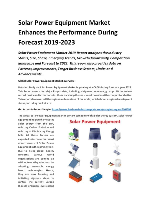 Market Research Reports Global Solar Power Equipment Market Report 2019