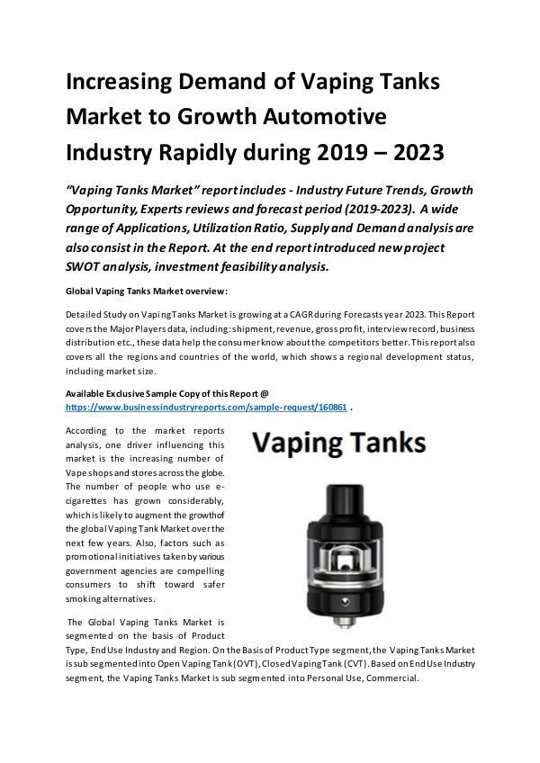 Market Research Reports Global Vaping Tanks Market Report 2019