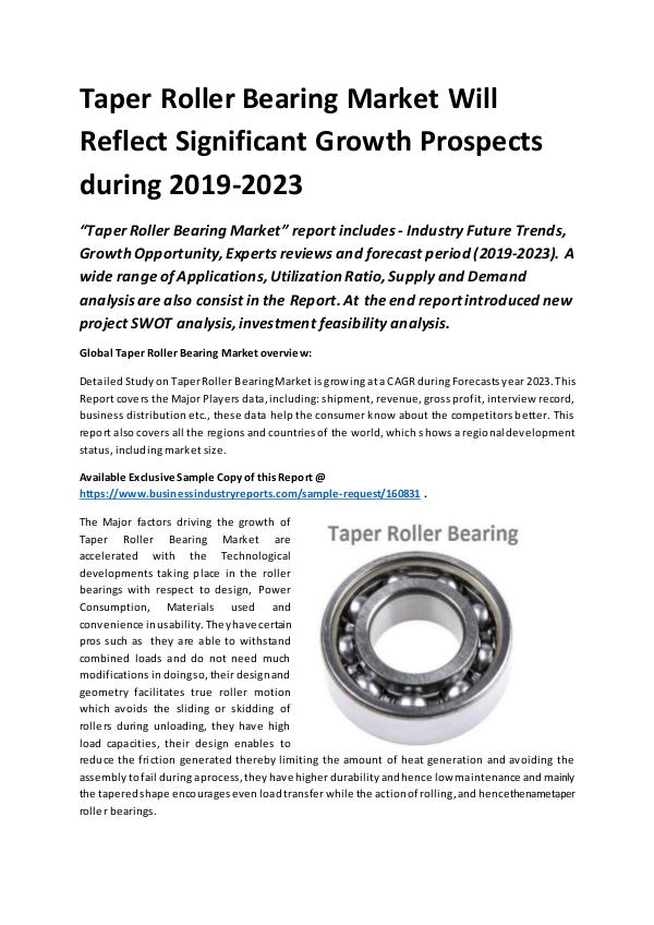 Market Research Reports Global Taper Roller Bearing Market Report 2019