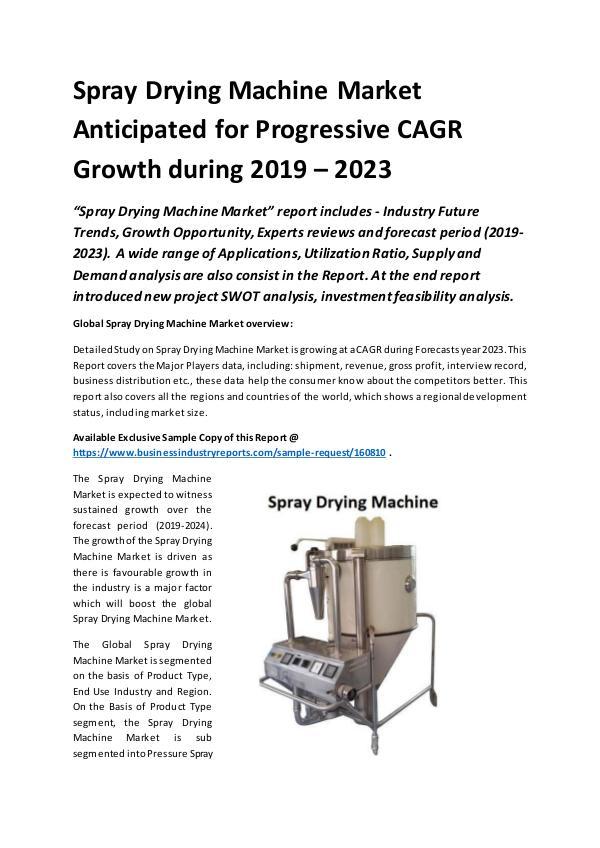 Global Spray Drying Machine Market Report 2019