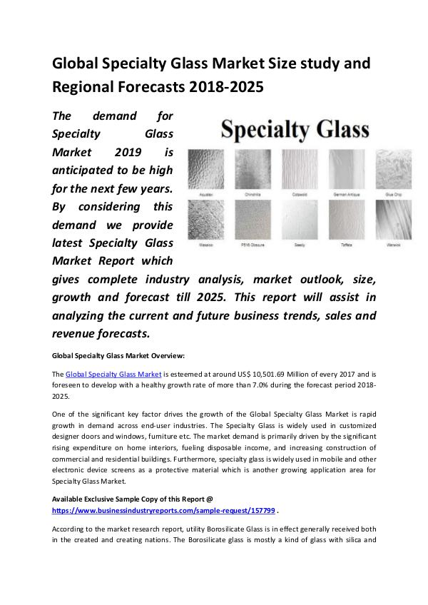 Global Specialty Glass Market Size study, by Type