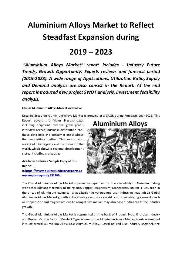 Market Research Reports Global Aluminium Alloys Market 2019