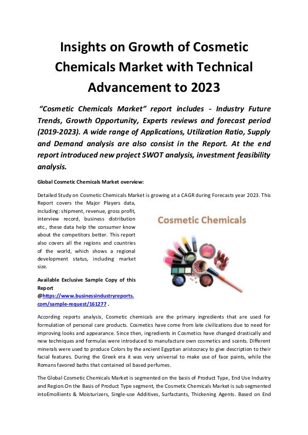 Market Research Reports Global Cosmetic Chemicals Market 2019