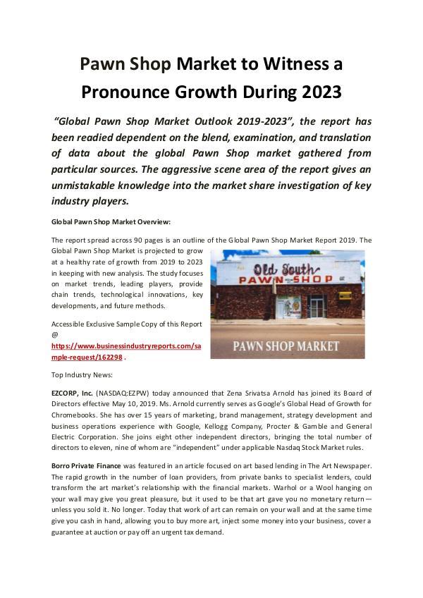 Global Pawn Shop Market 2019