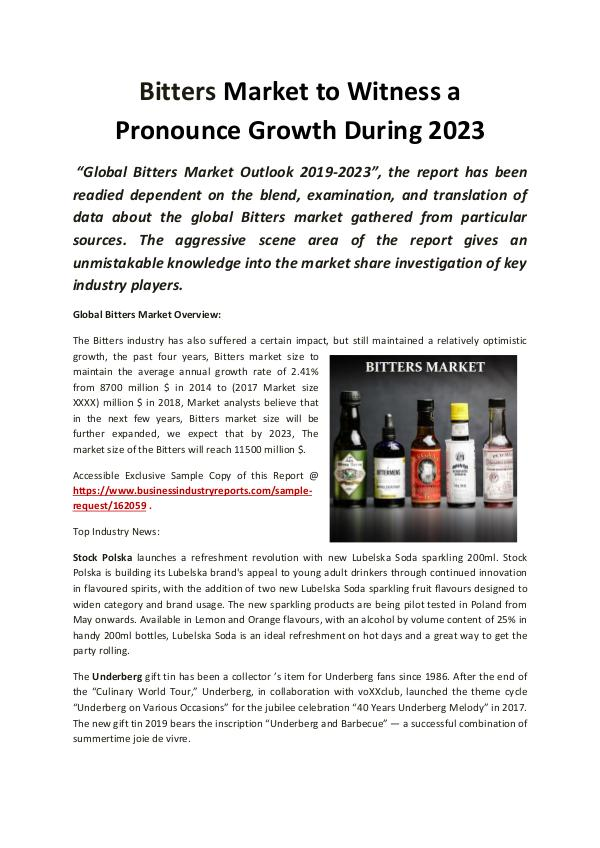 Global Bitters Market 2019