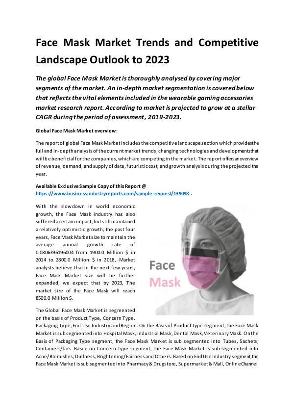 Global Face Mask Market Report 2019