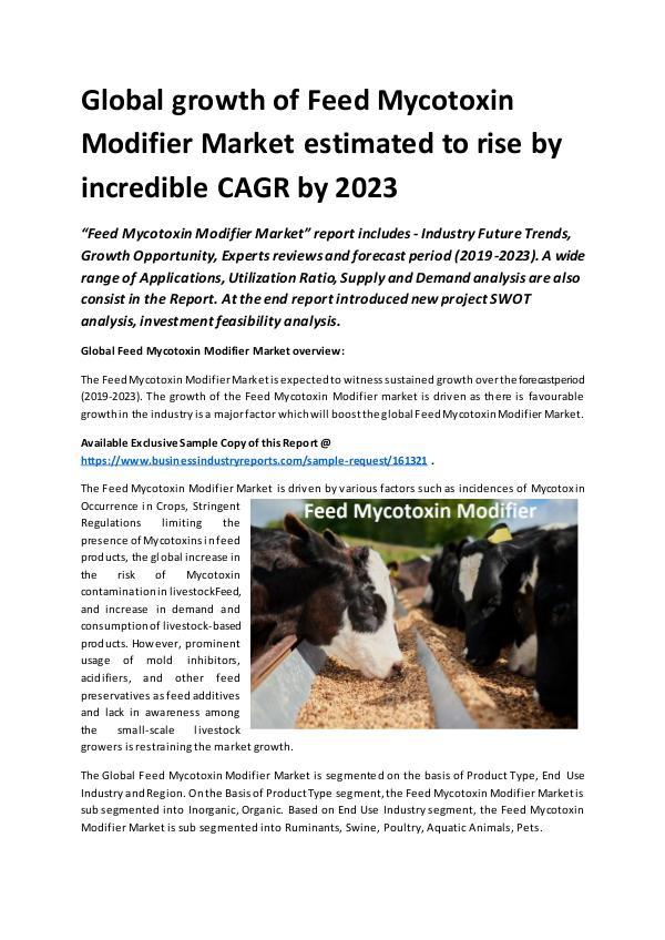 Global Feed Mycotoxin Modifier Market Report 2019